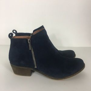 Lucky Brand Navy Blue Leather Basel Booties